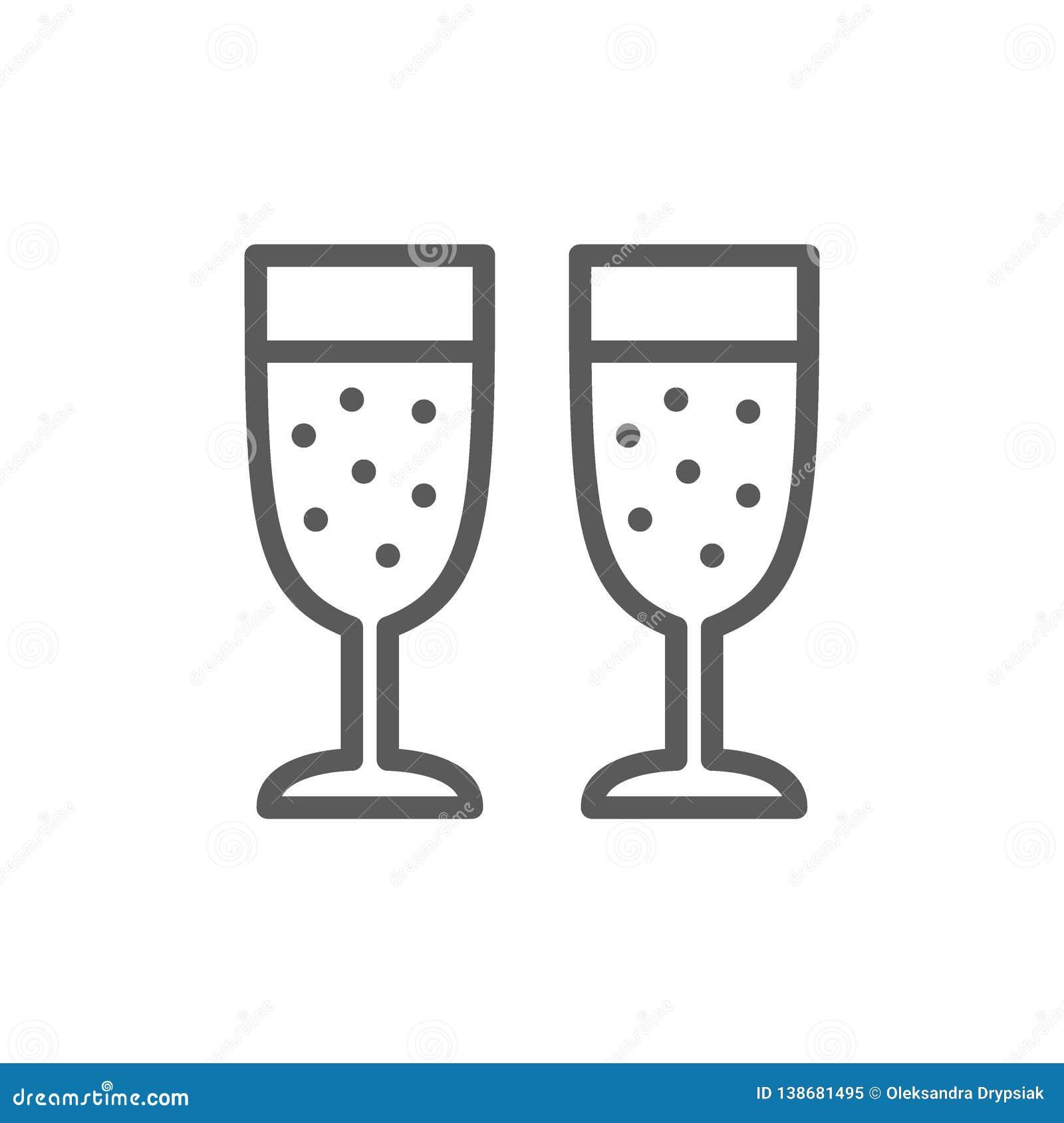 Dos vidrios de la línea icono del champán