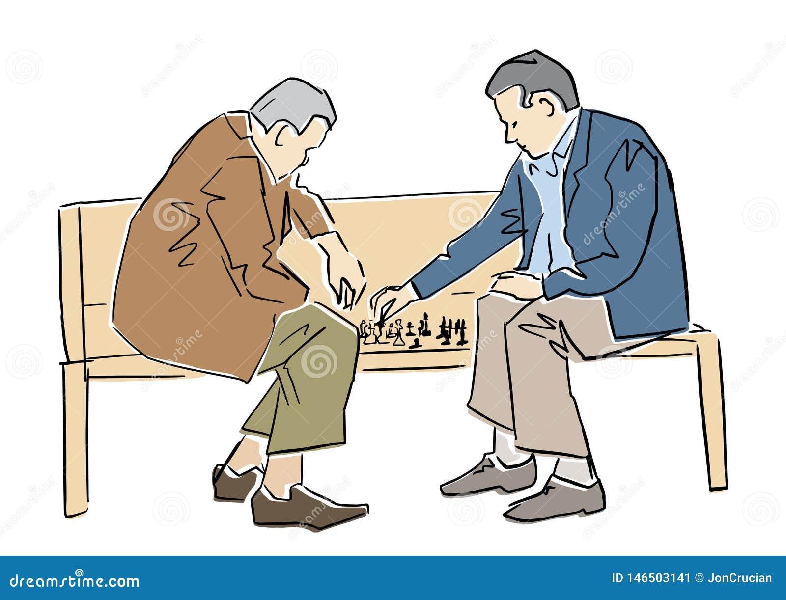 Dos viejos hombres que juegan a ajedrez en el banco Ejemplo plano del vector
