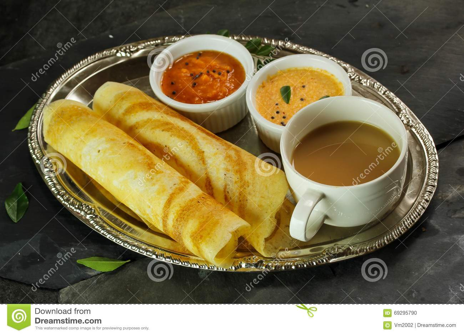 Dosa with Sambar and chutney, breakfast