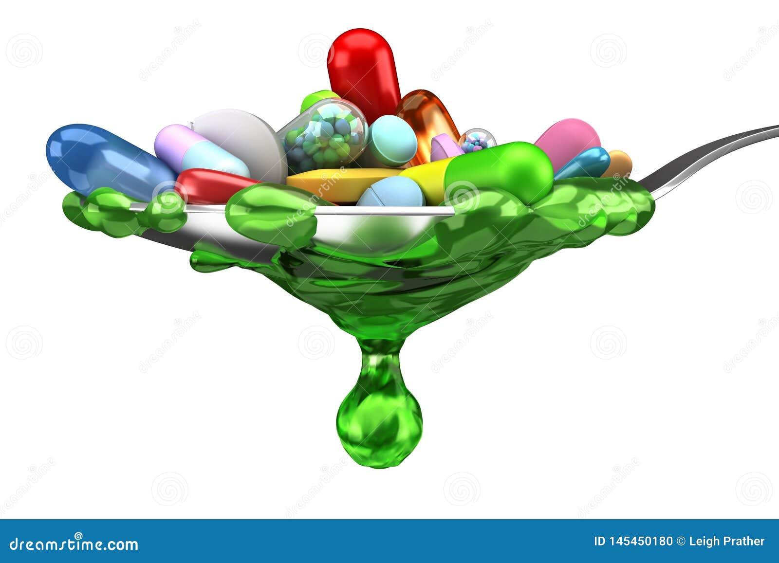Dosis de píldoras y de la medicina coloridas en cuchara