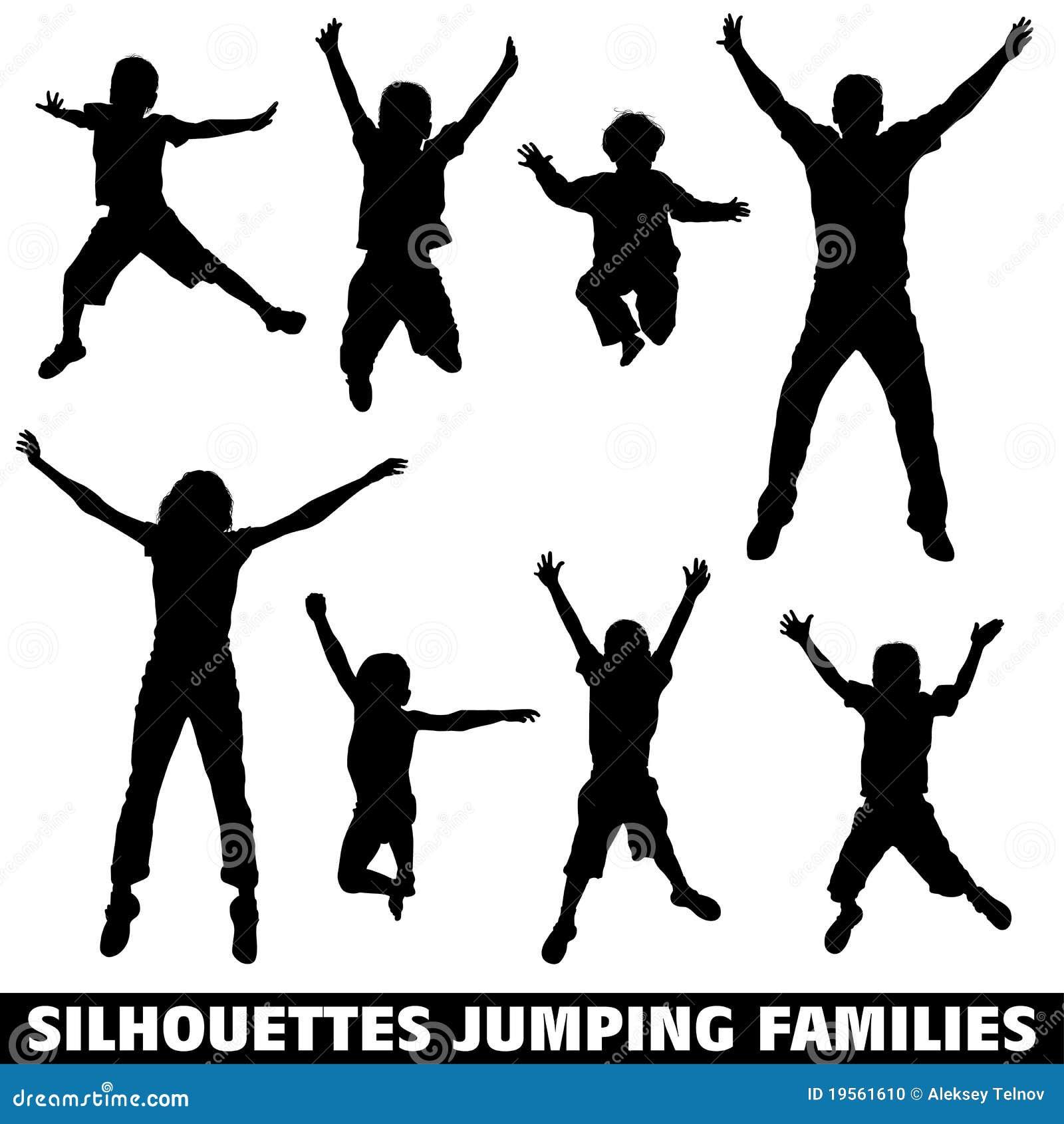 Doskakiwanie rodzinna szczęśliwa sylwetka