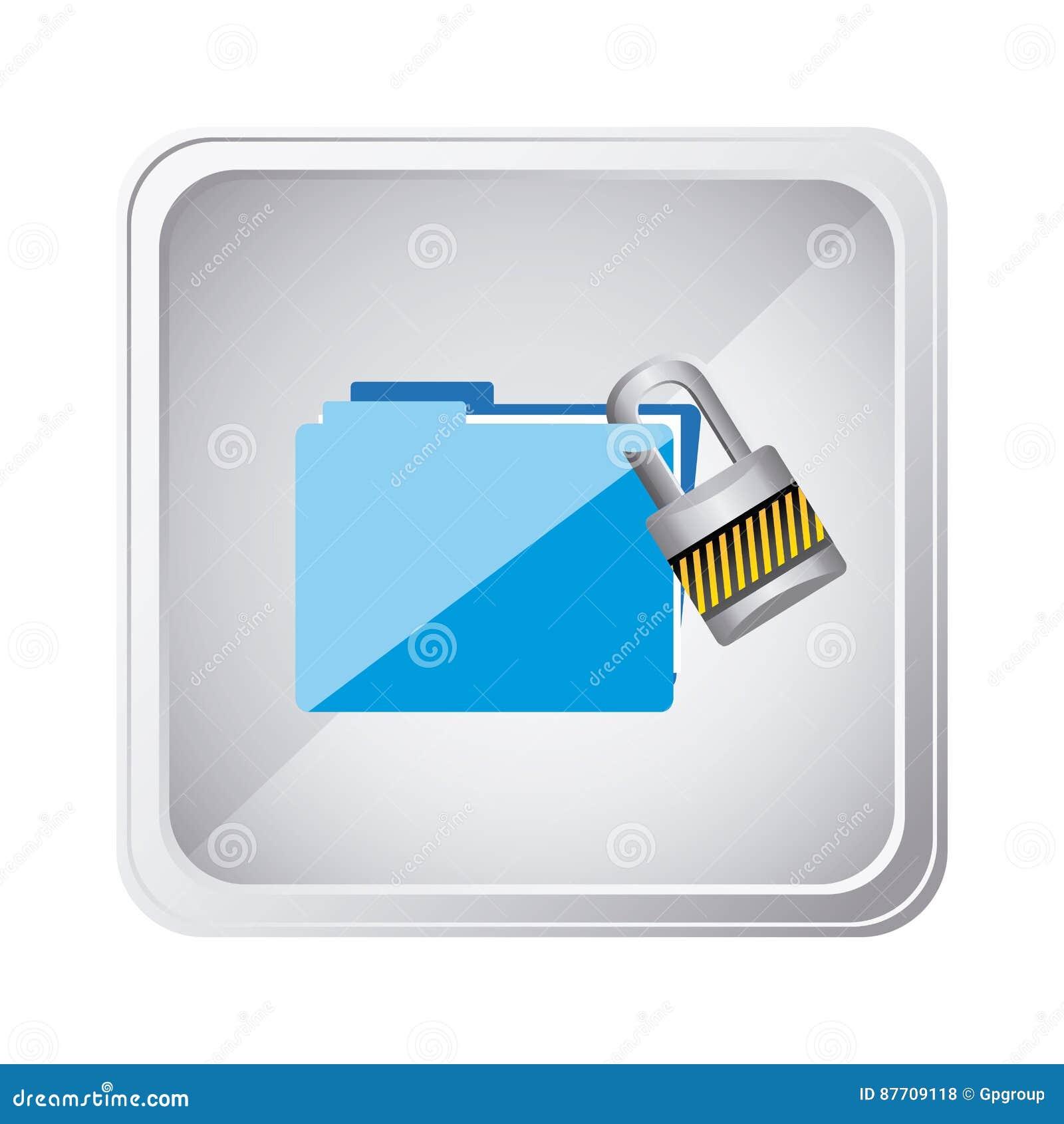 Dossier argenté d emblème avec l icône de serrure