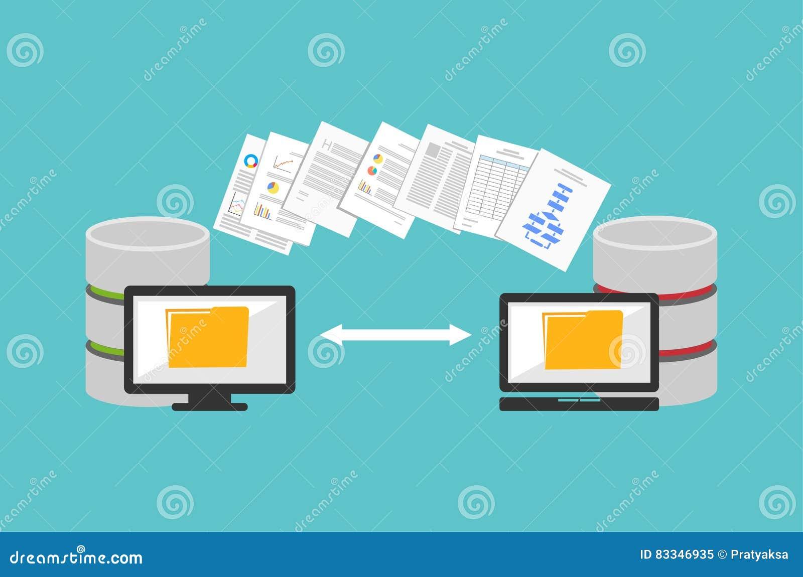 dossiers de transfert partager des dossiers fichiers de sauvegarde concept de migration. Black Bedroom Furniture Sets. Home Design Ideas