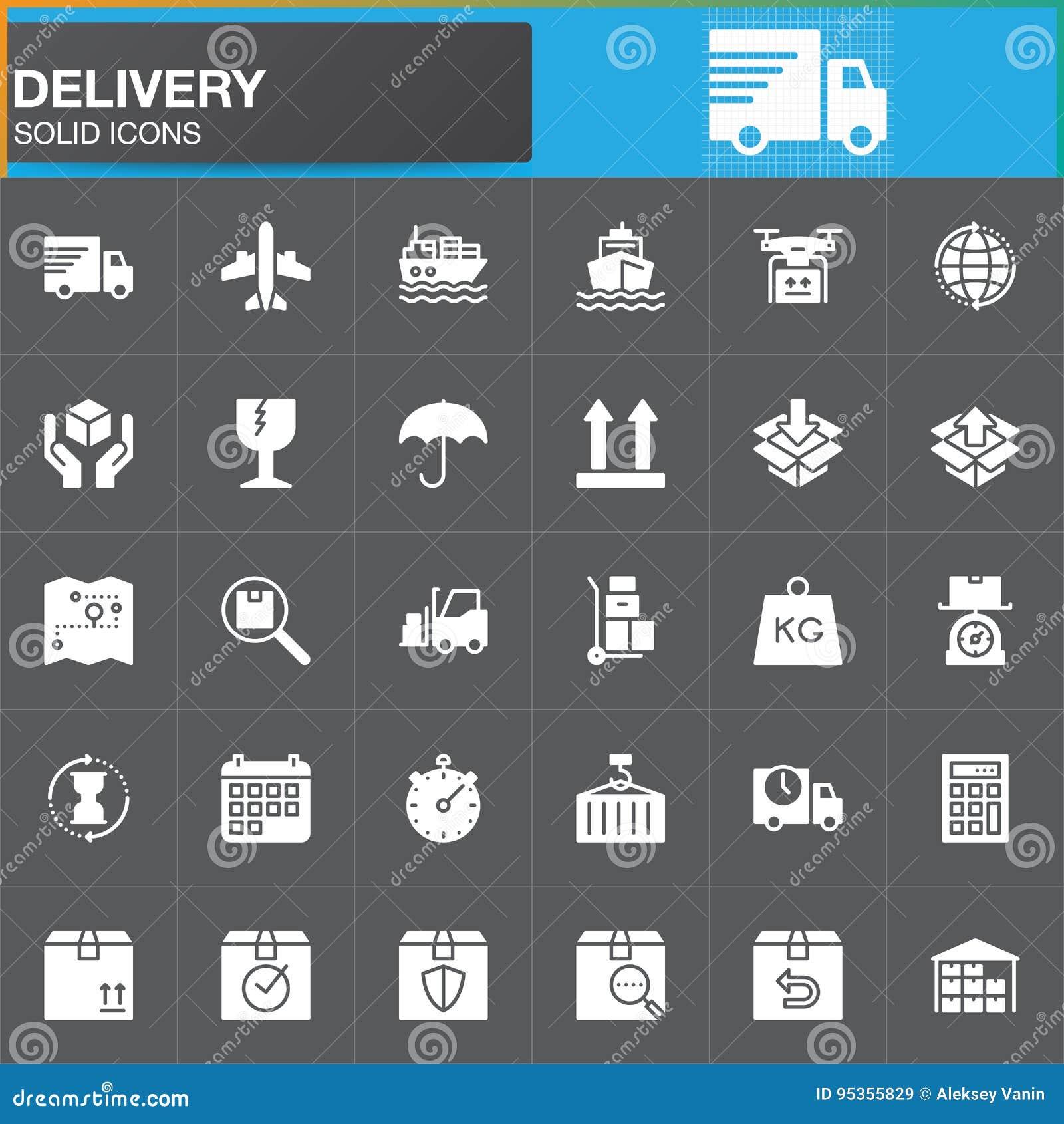 Dostawy i logistyk wektorowe ikony ustawiać, nowożytna stała symbol kolekcja, wypełniająca biała piktogram paczka Znaki, logo ilu