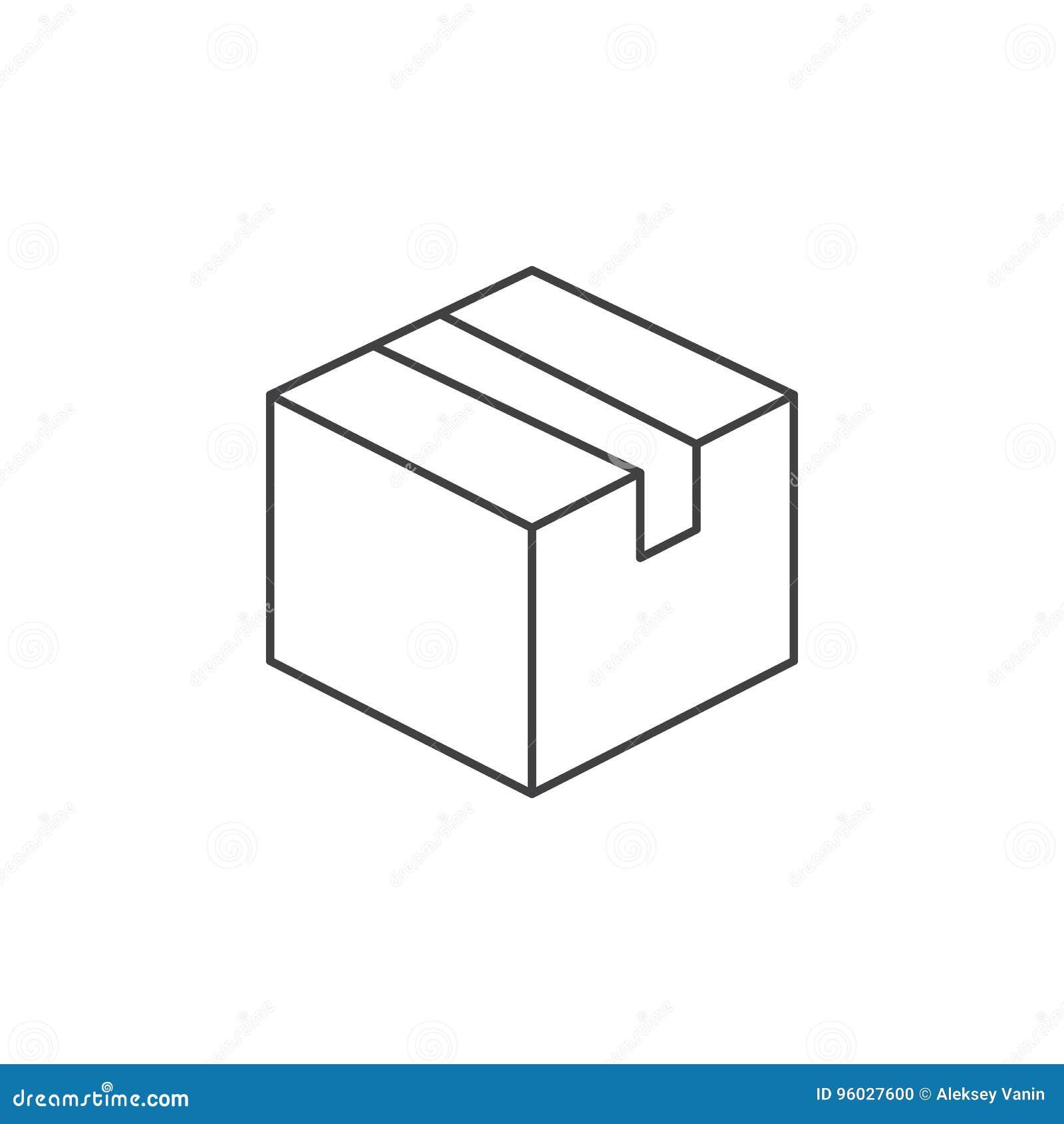 Dostawy pudełka cienka kreskowa ikona, pakunku konturu loga wektorowy illustr
