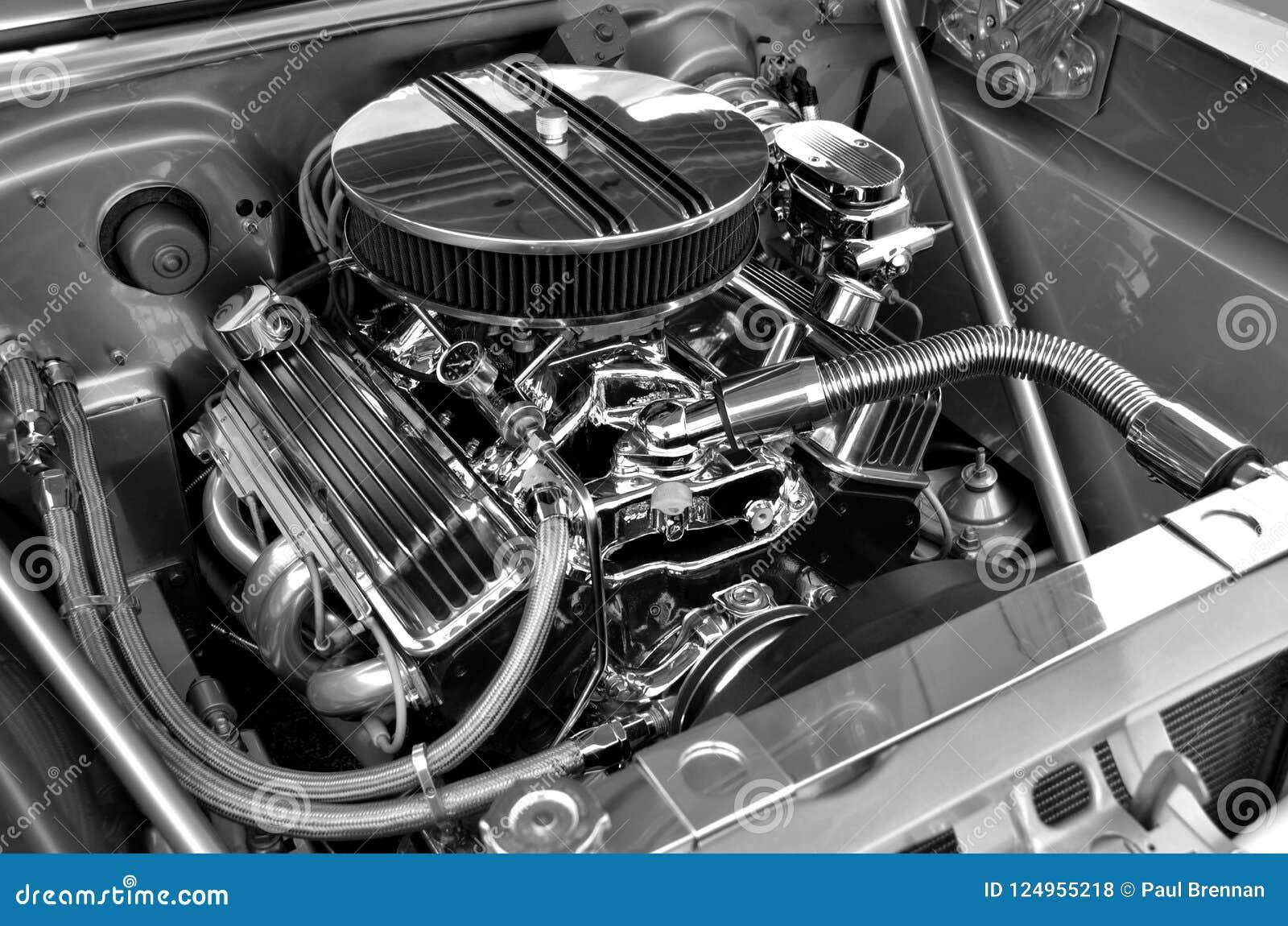 Dostosowywający samochodowego silnika tło