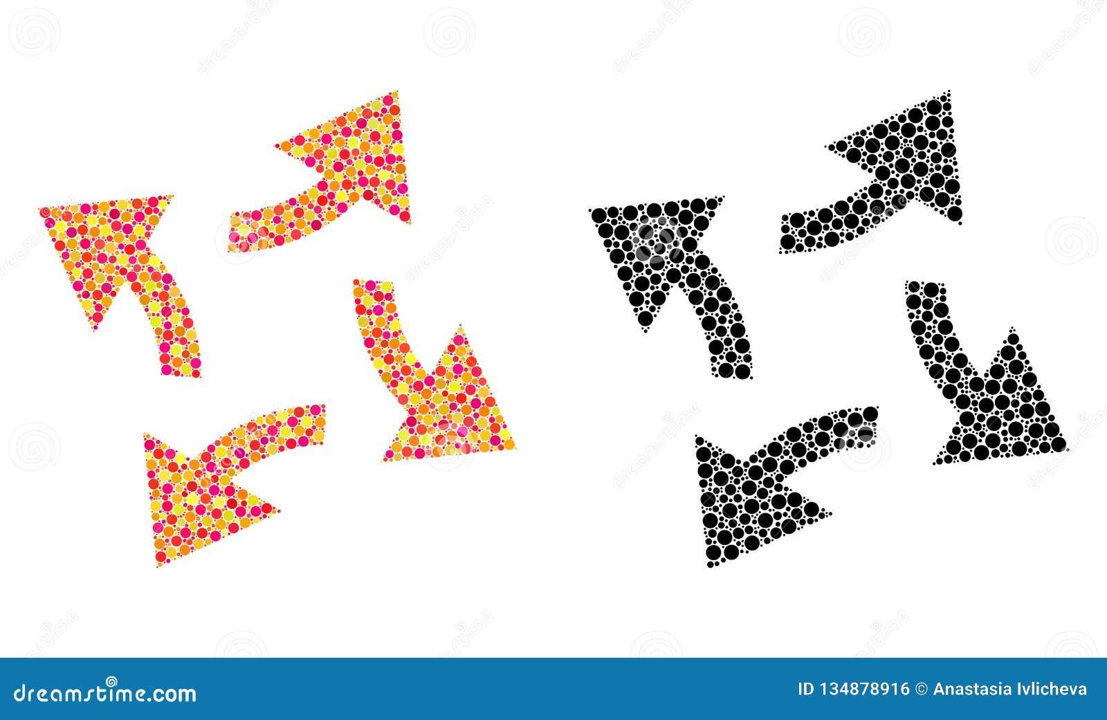 Dot Centrifugal Arrows Mosaic Icons