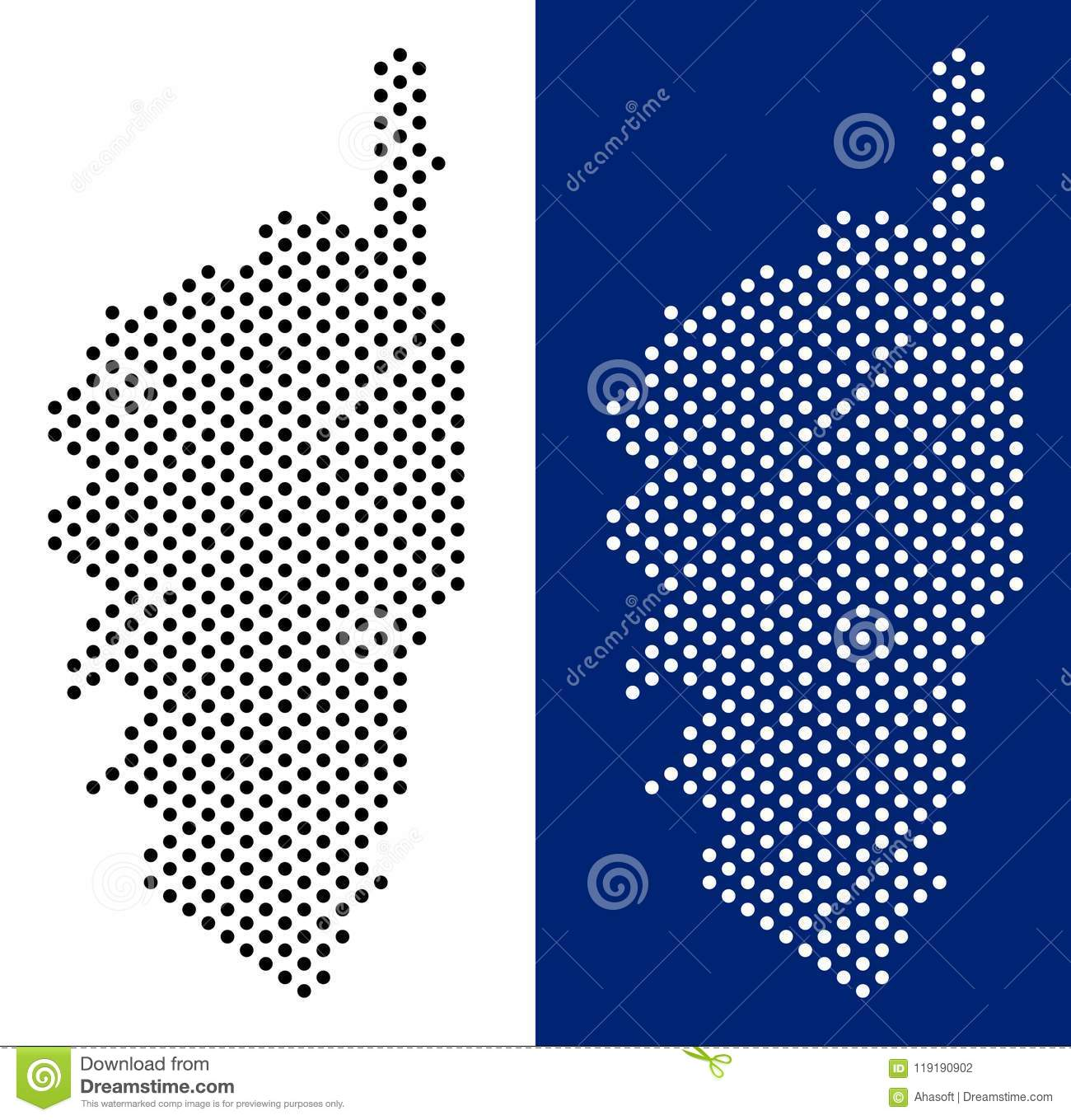 Dot Corsica France Island Map Stock Vector Illustration Of Dotted