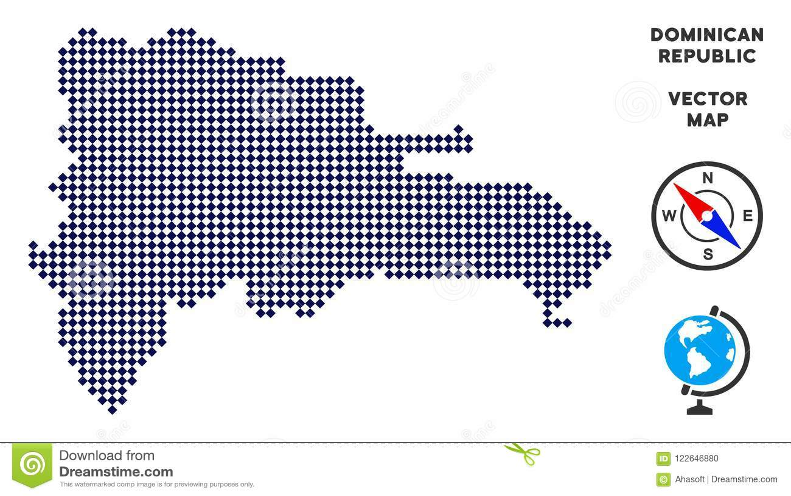 Dot Dominican Republic Map stock vector. Illustration of location ...