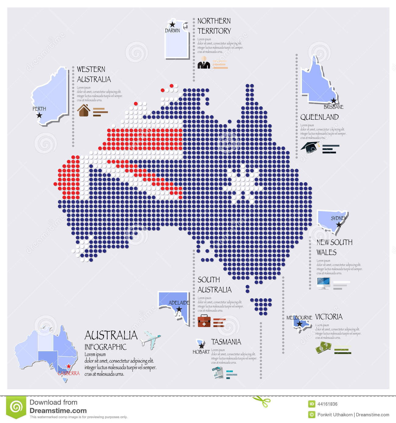 Dot And Flag Map Of Australia Infographic Design Stock Vector - Australia map infographic