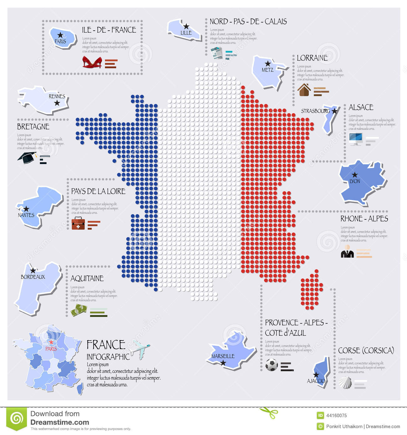 Map Design Website Template: Dot And Flag Map Of France Infographic Design Stock Vector