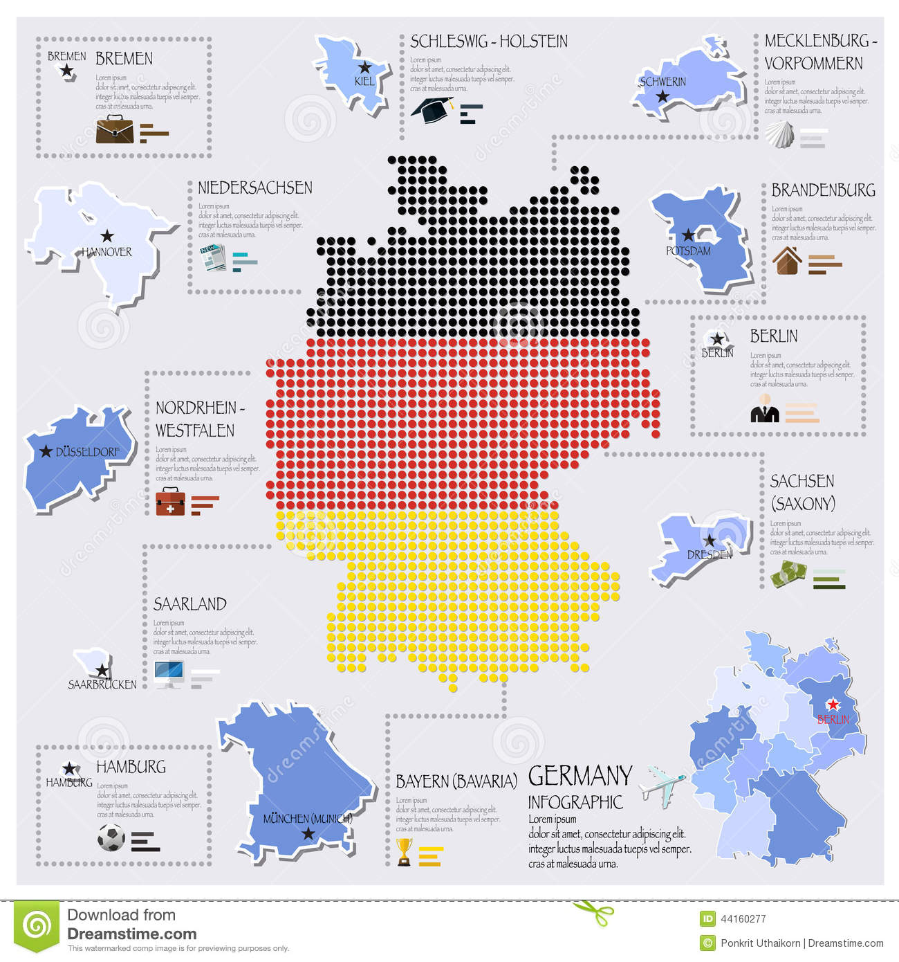 dot and flag map of germany infographic design stock vector