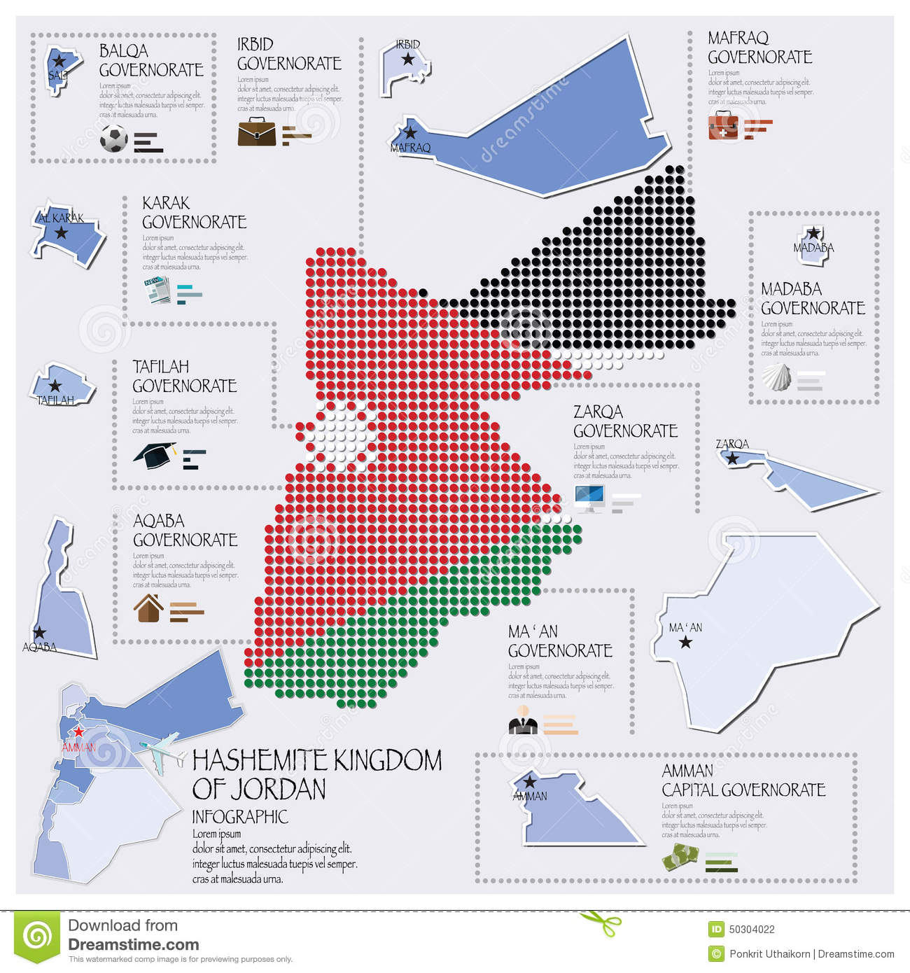 Dot And Flag Map Of Hashemite Kingdom Of Jordan Infographic Stock - Jordan map download