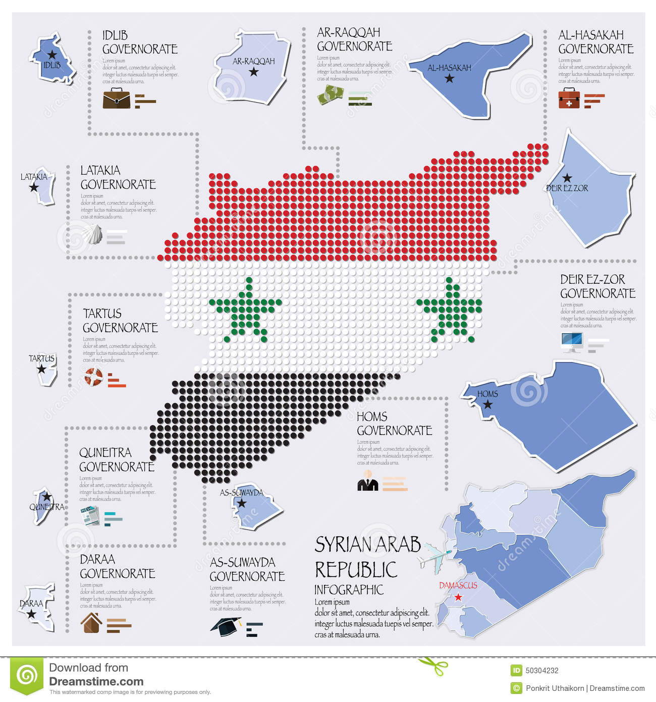 Dot And Flag Map Of Syrian Arab Republic Infographic Design Template