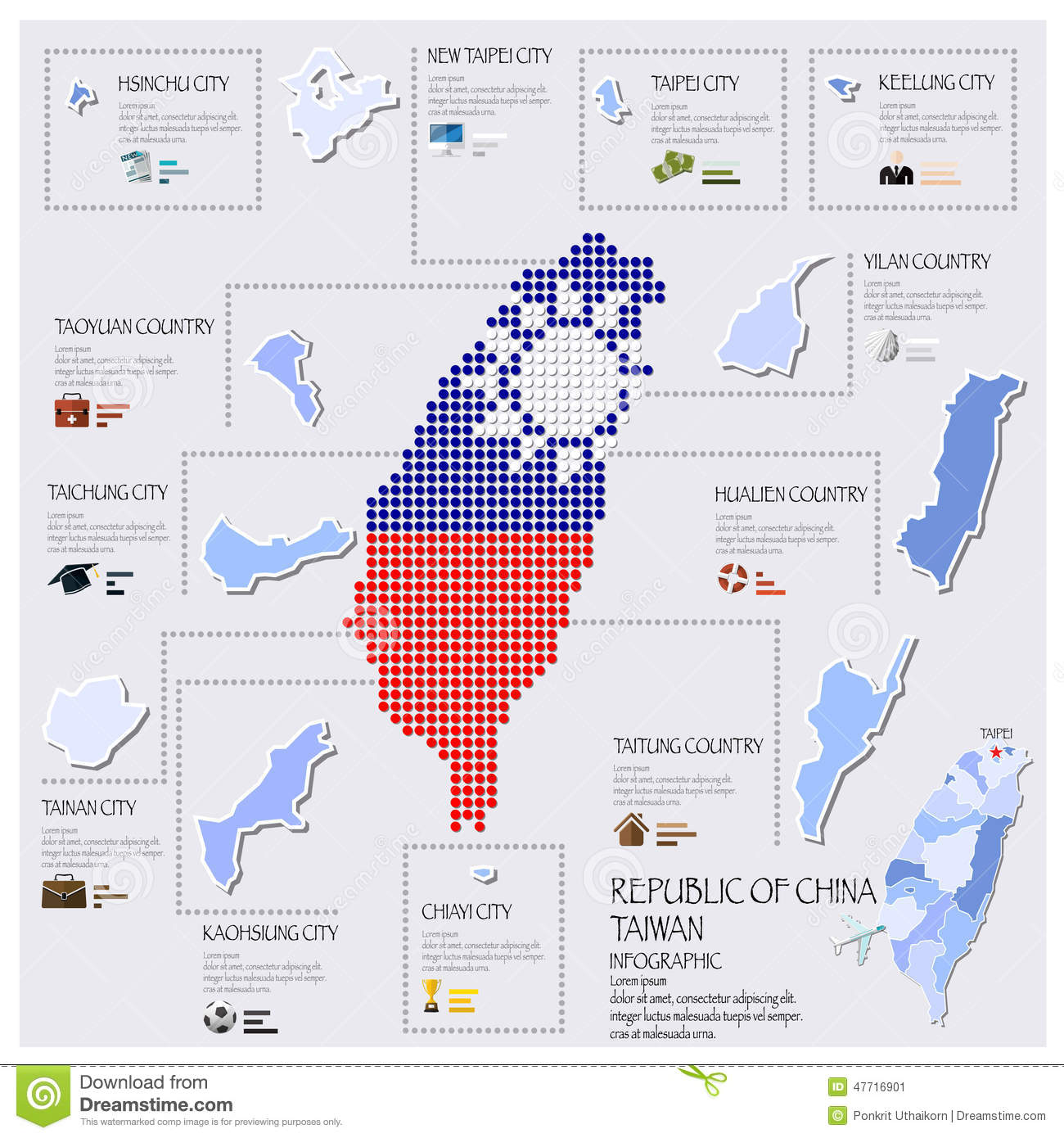 Dot And Flag Map Of Taiwan Republic Of China Infographic Design ...