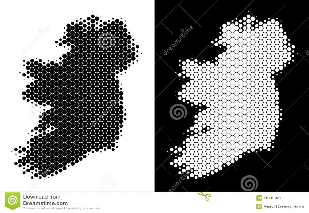 Regional Map Of Ireland.Dot Halftone Ireland Island Map Stock Vector Illustration Of