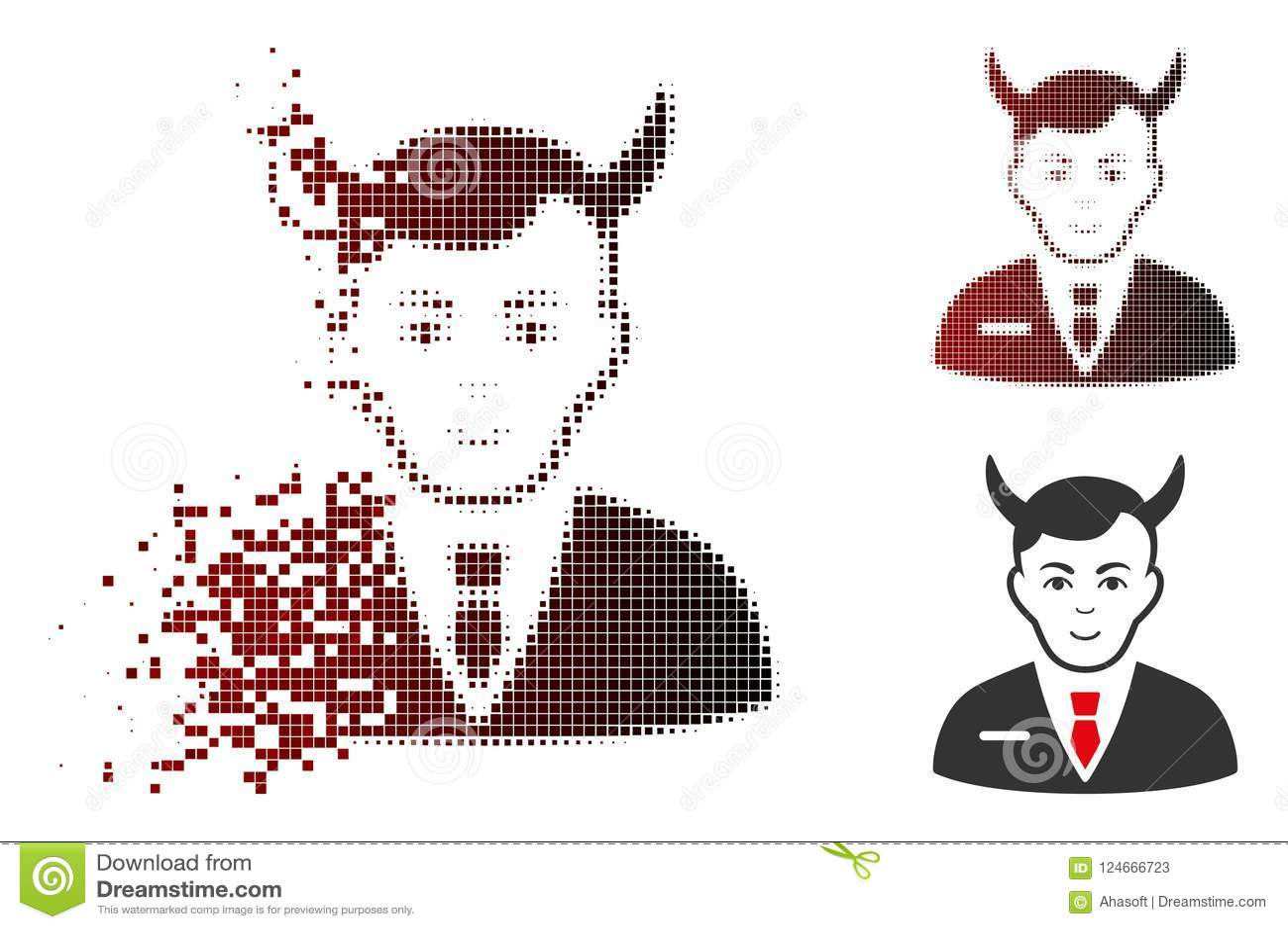 Dot Halftone Satan Icon hecho fragmentos con la cara