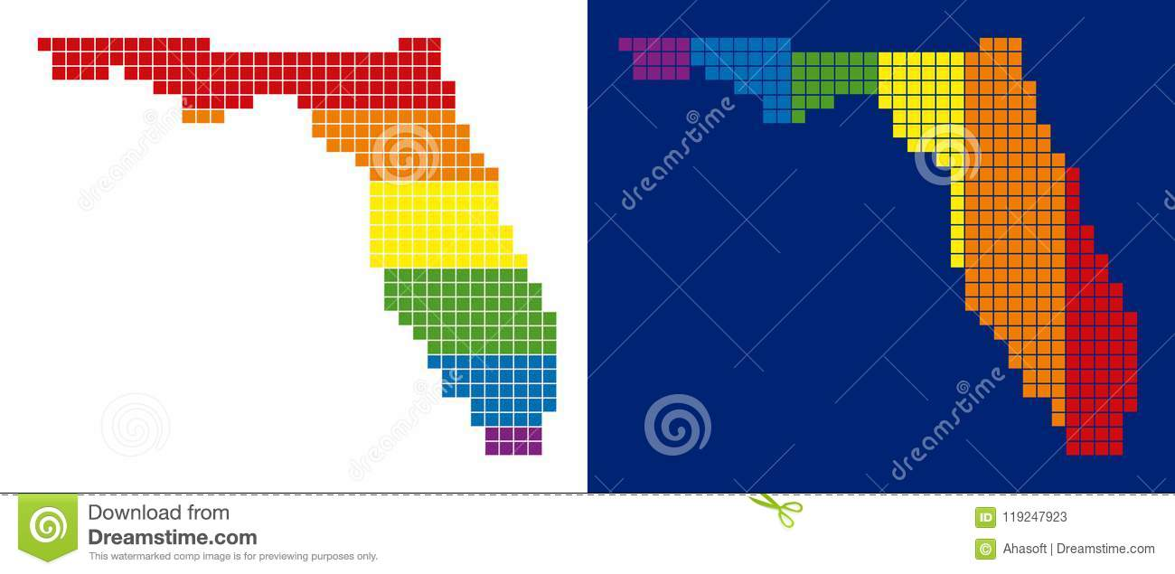 Florida Map Directions.Spectrum Pixel Dotted Florida Map Stock Vector Illustration Of