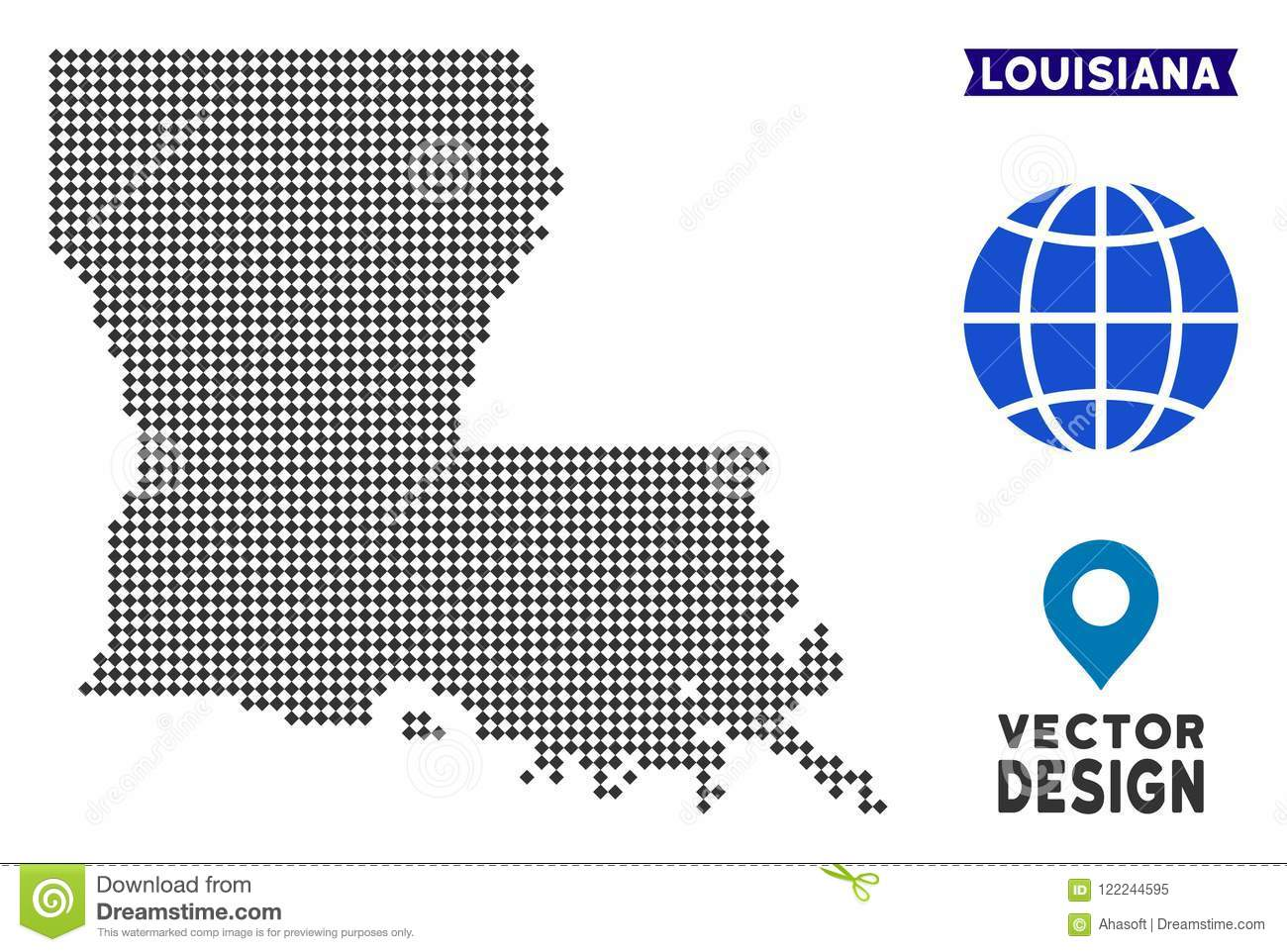Dot Louisiana State Map stock vector. Illustration of abstract ...