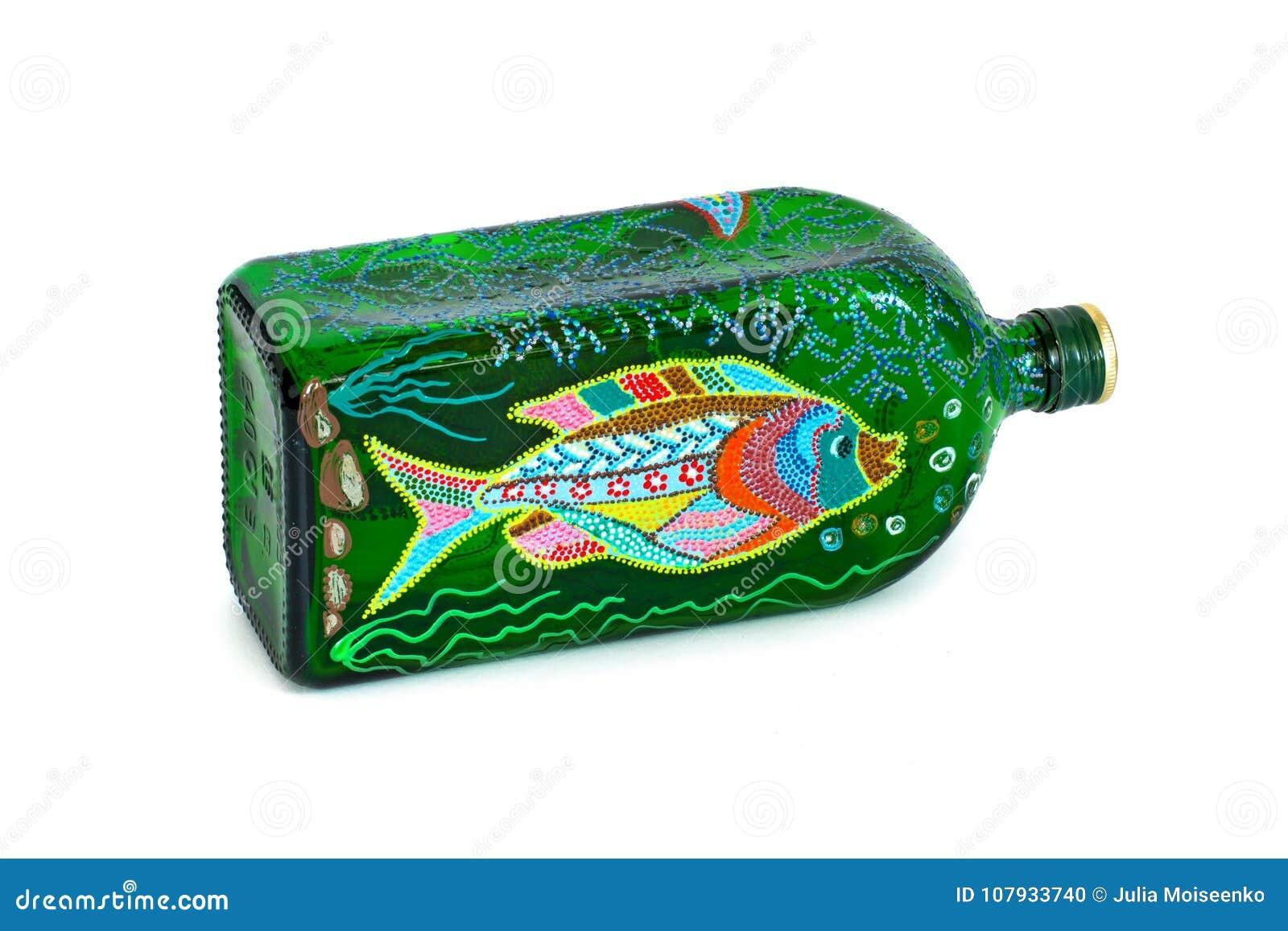 Dot Painting fles met verven wordt geschilderd die zeer aardig decor isoleer