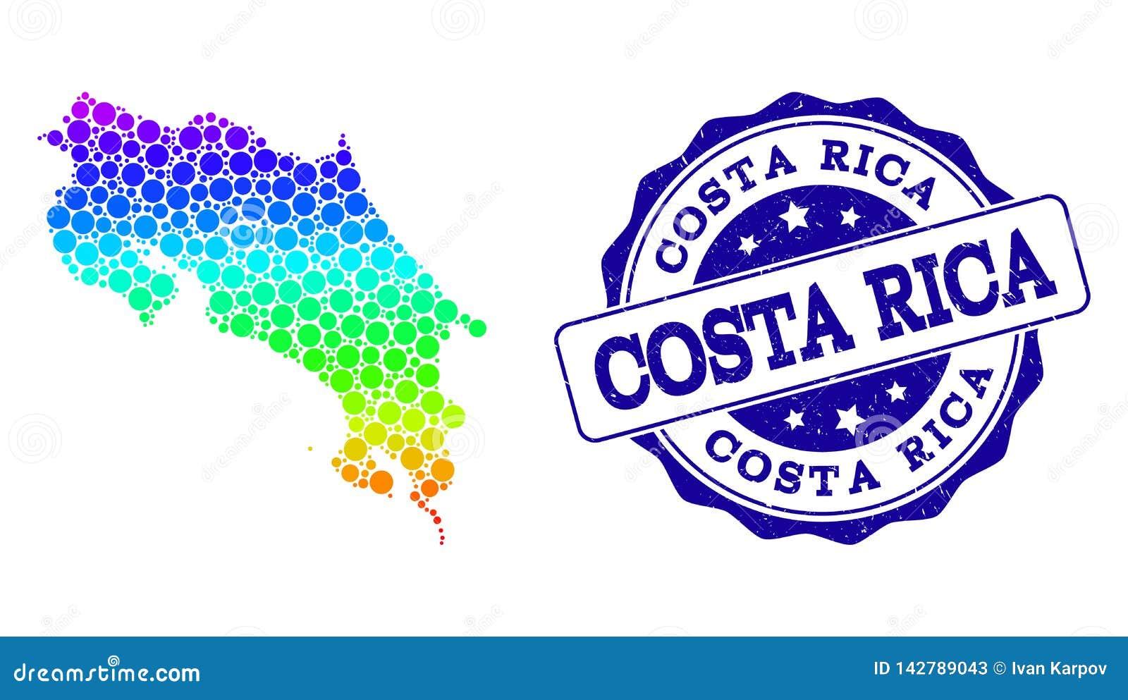 Dot Rainbow Map de Costa Rica y del sello del sello del Grunge