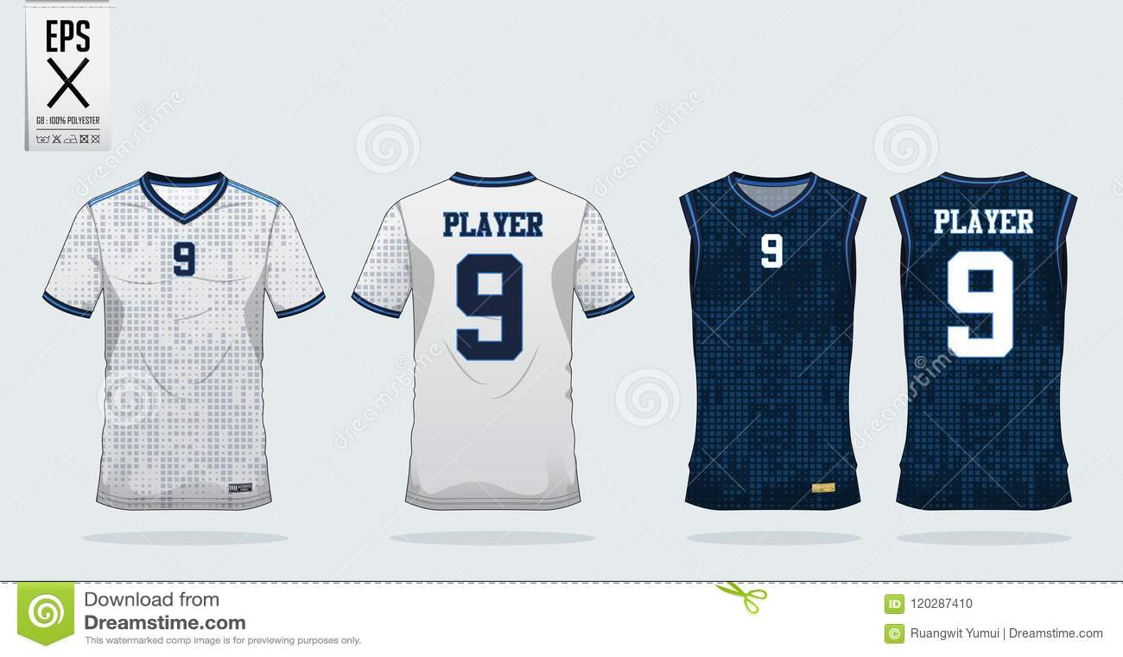 Dot Square Pattern Sport Shirt Design Template For Soccer Jersey