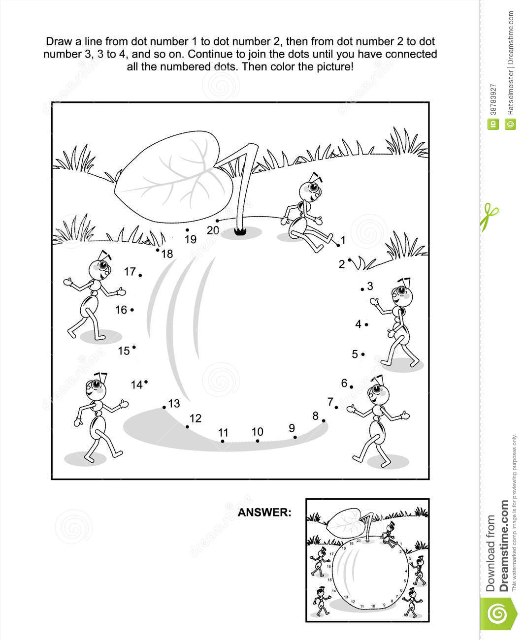 dot to dot and coloring page apple and ants stock vector image