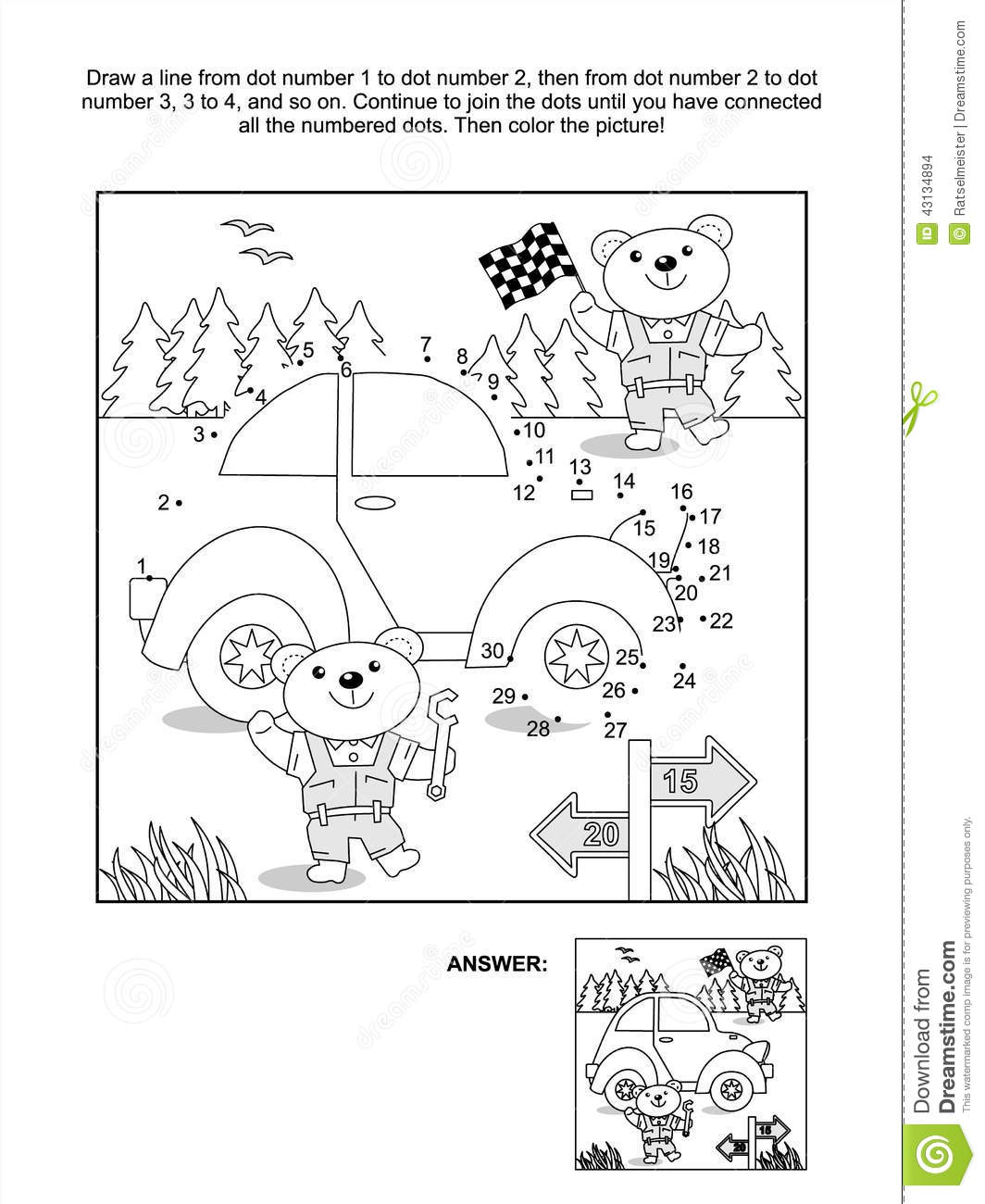 dot to dot and coloring page car and bear mechanics stock vector