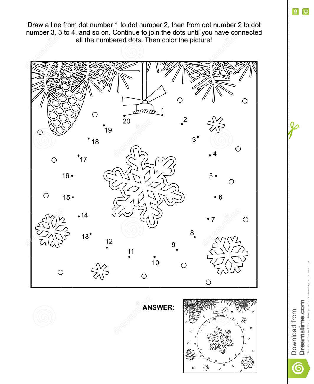 Dot To Dot And Coloring Page Christmas Ornament Stock Vector