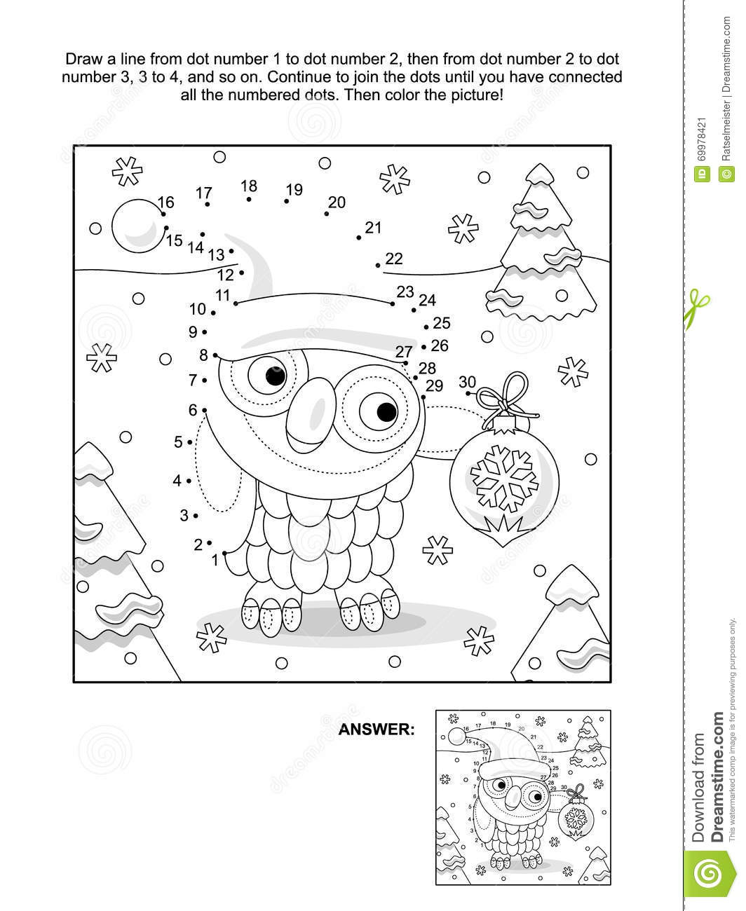 Dot To Dot Christmas Coloring Page - Dot to dot and coloring page with christmas owl stock vector