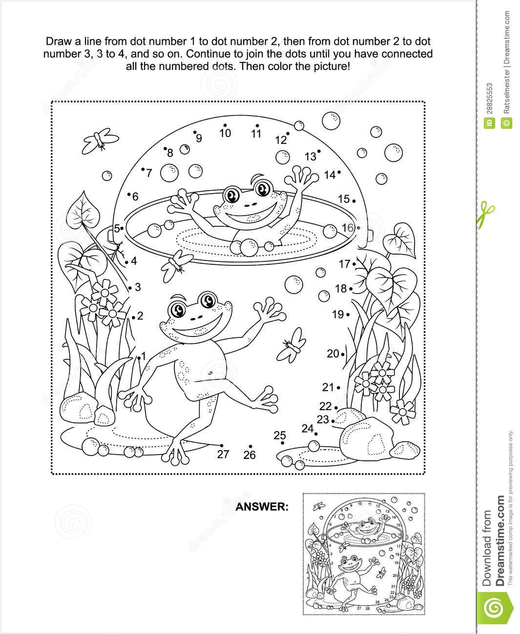Download Dot To And Coloring Page With Happy Frogs Stock Vector