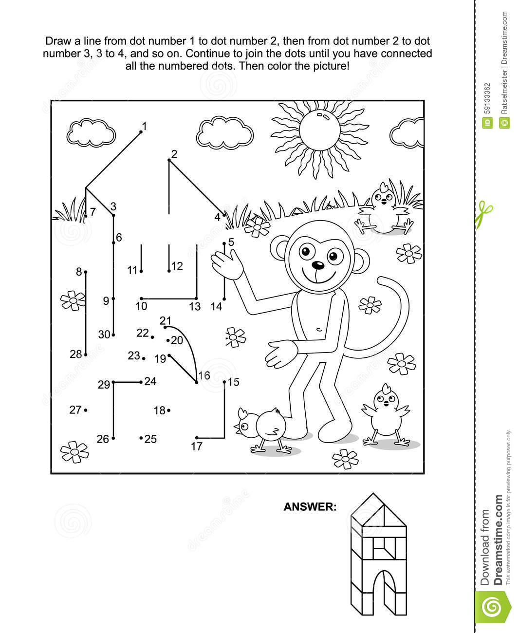 dot to dot and coloring page monkey the builder stock vector