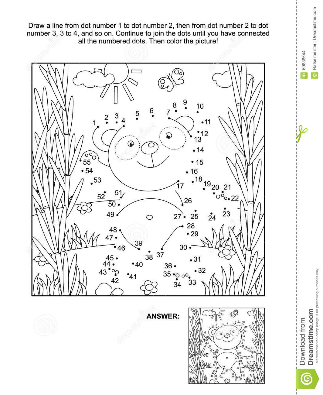 dot to dot and coloring page with panda bear stock vector image