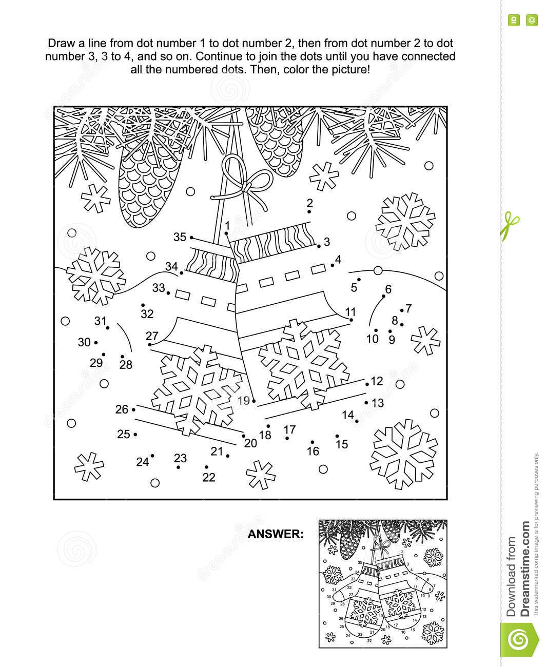 dot to dot and coloring page with santa s mittens stock vector