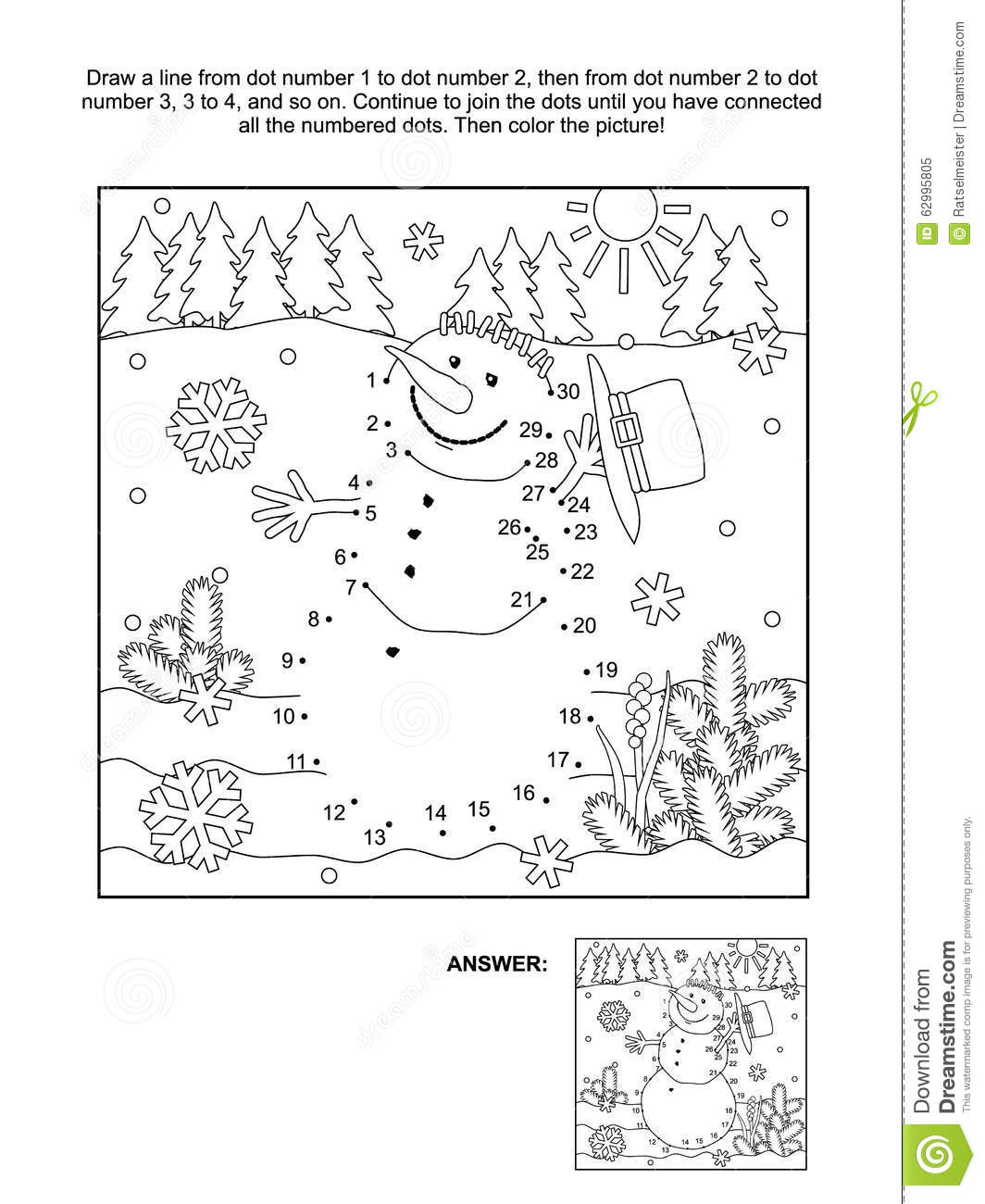 dot to dot and coloring page snowman stock vector image 62995805