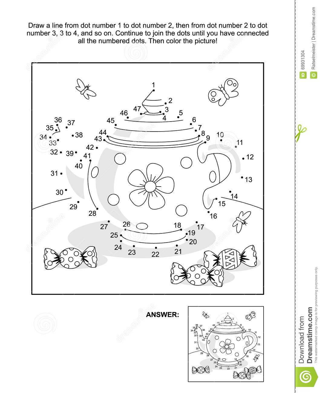 dot to dot and coloring page with tea pot and candy stock vector