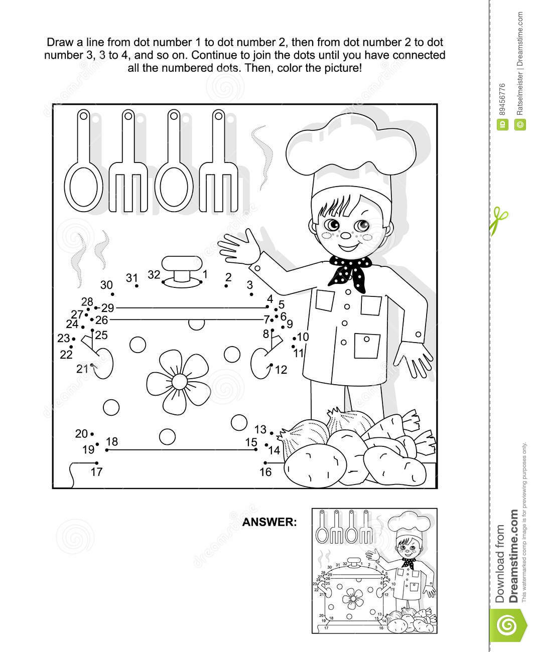 Dot To Dot And Coloring Page With Young Chef Stock Vector