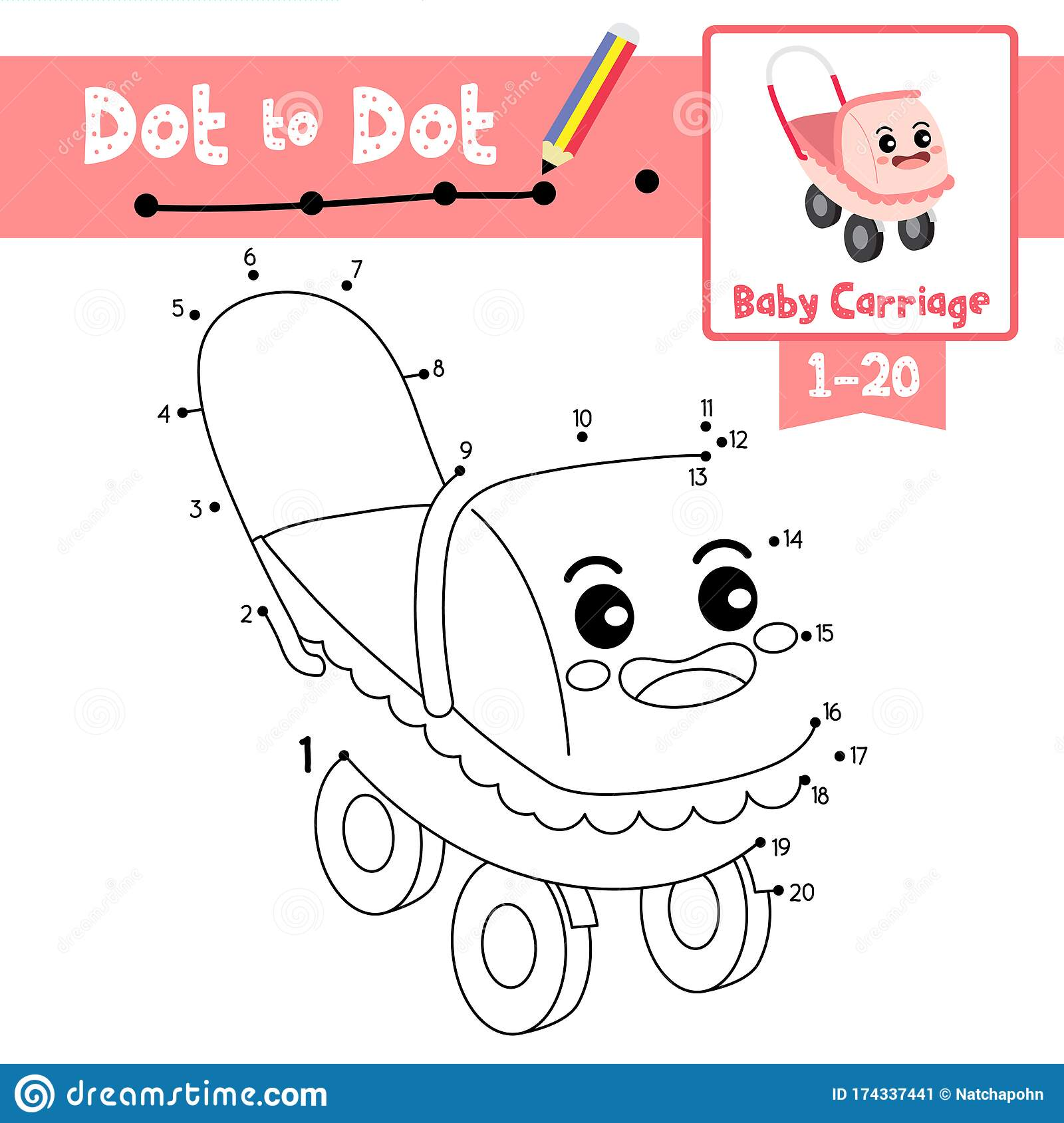 Dot To Dot Educational Game And Coloring Book Baby Carriage Cartoon Character Perspective View Vector Illustration Stock Vector Illustration Of Page Homework 174337441