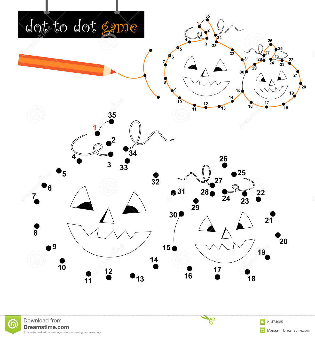 Dot To Game Halloween Pumpkins Royalty Free Stock