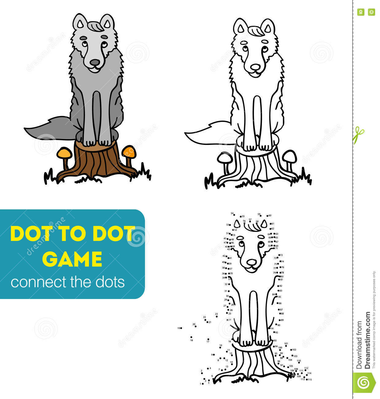 Dot To Dot Games For Children. Cartoon Wolf Stock Vector - Image ...