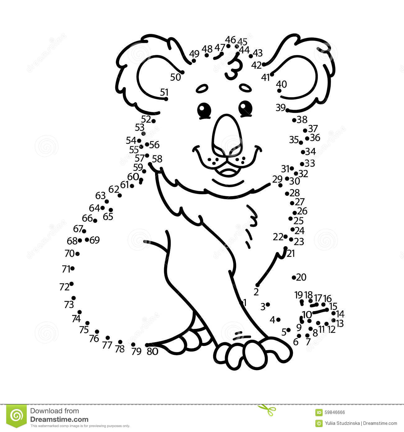 Download Dot To Koala Game Stock Vector Illustration Of Beautiful