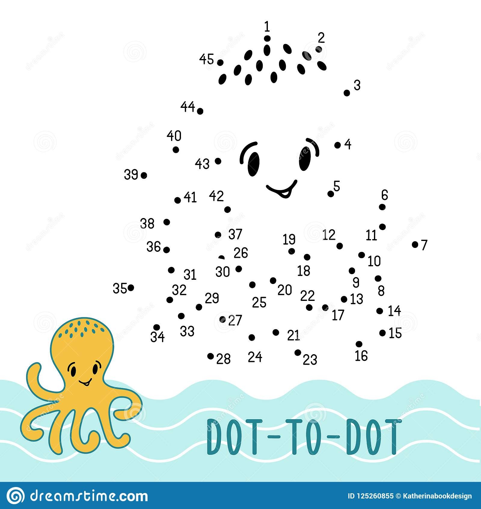 Dot To Dot Game Number Connect Dots Octopus Stock Vector ...
