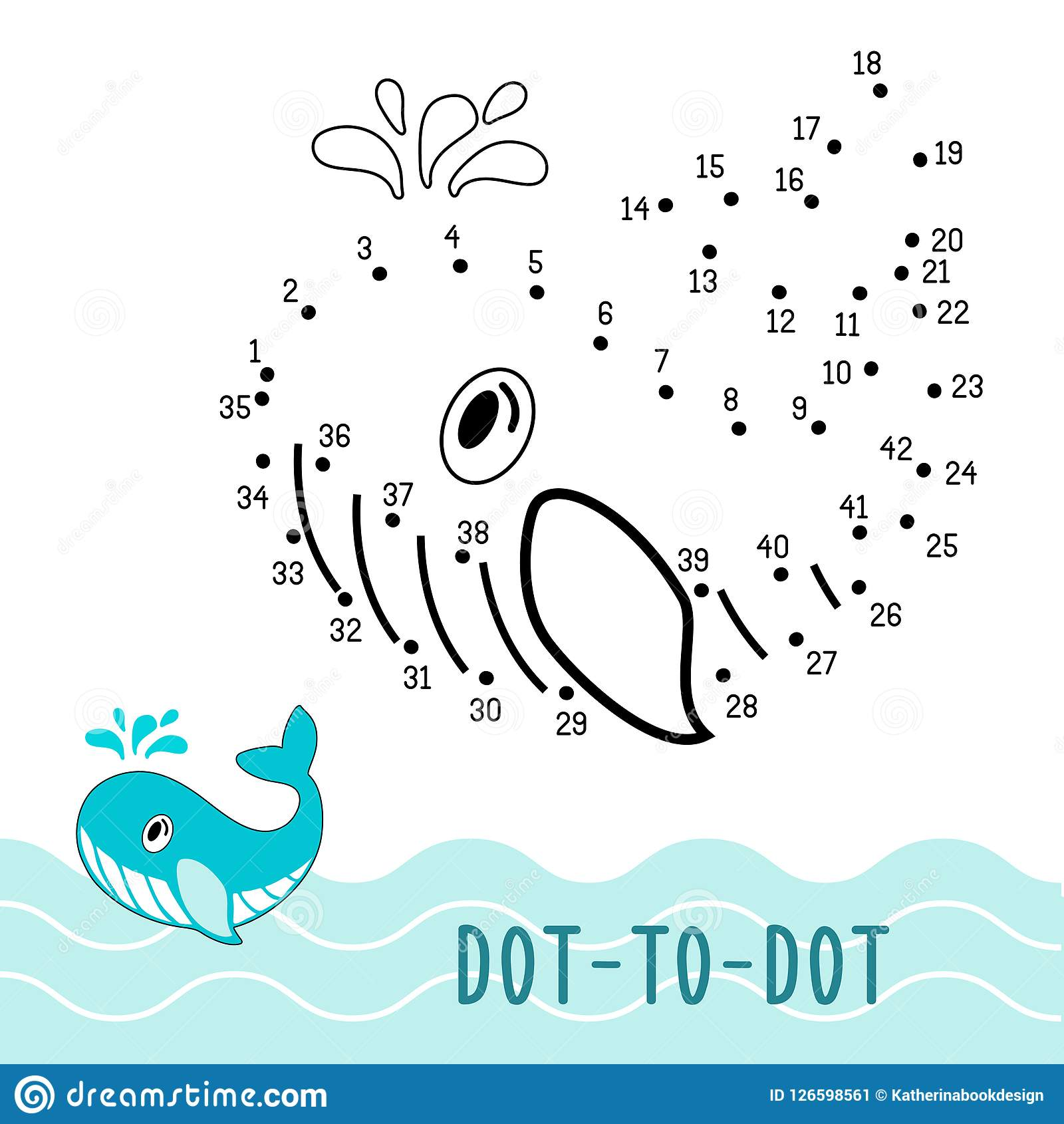 Dot To Dot Game Number Connect Dots Whale Stock Vector ...