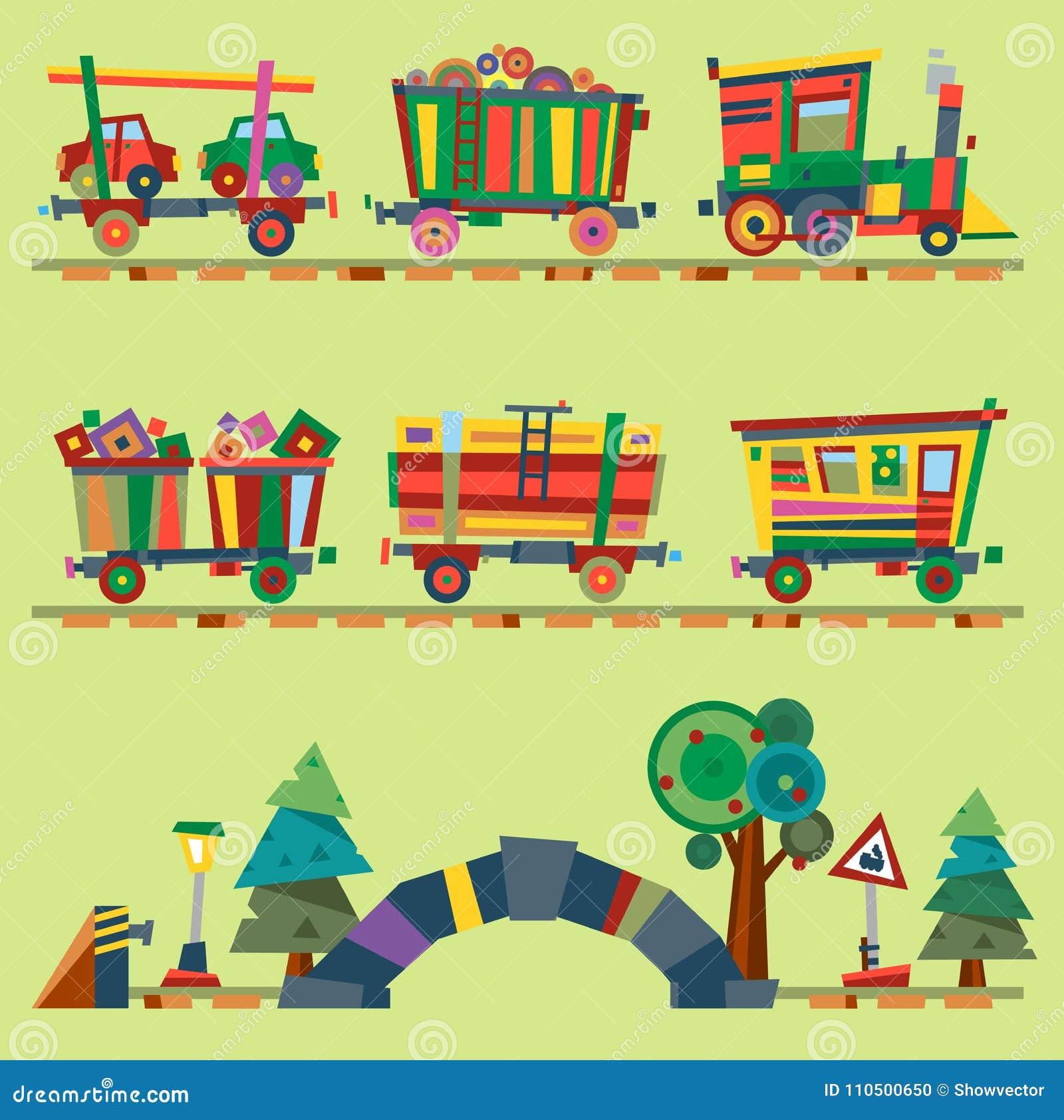 dotado locomotivo do jogo do brinquedo ou da estrada de ferro dos