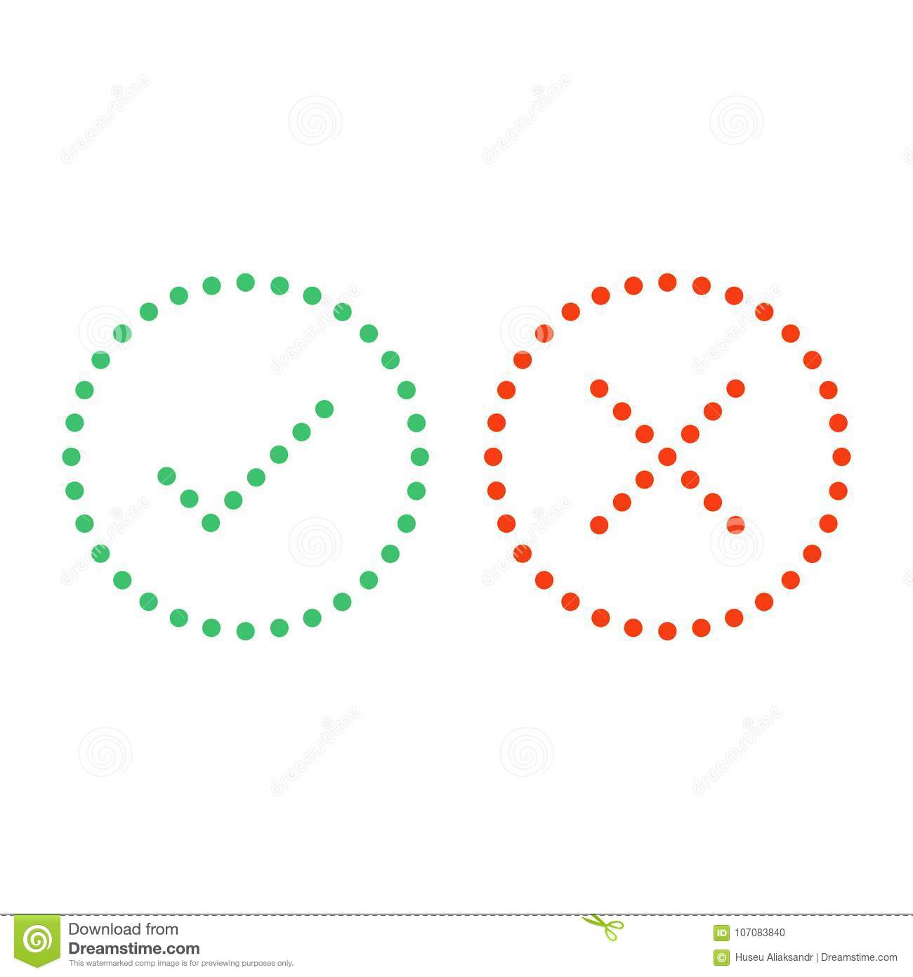 Dots check mark icons. stock vector. Illustration of ...