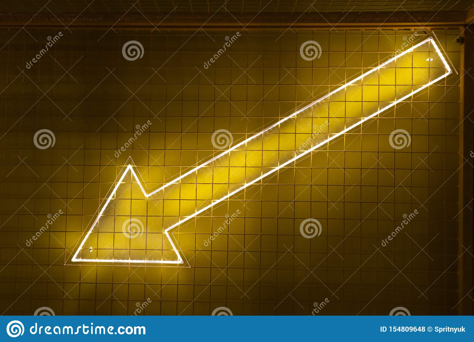 Dots matrix led diplay panel with illuminated symbol of arrow