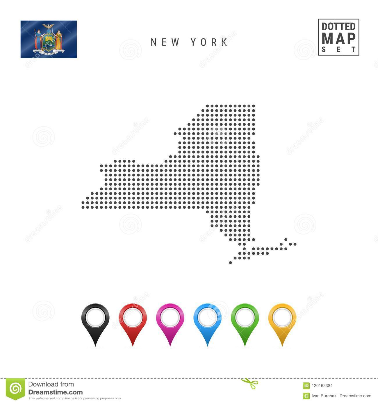 Dots Pattern Vector Map Of New York. Stylized Silhouette Of New York ...