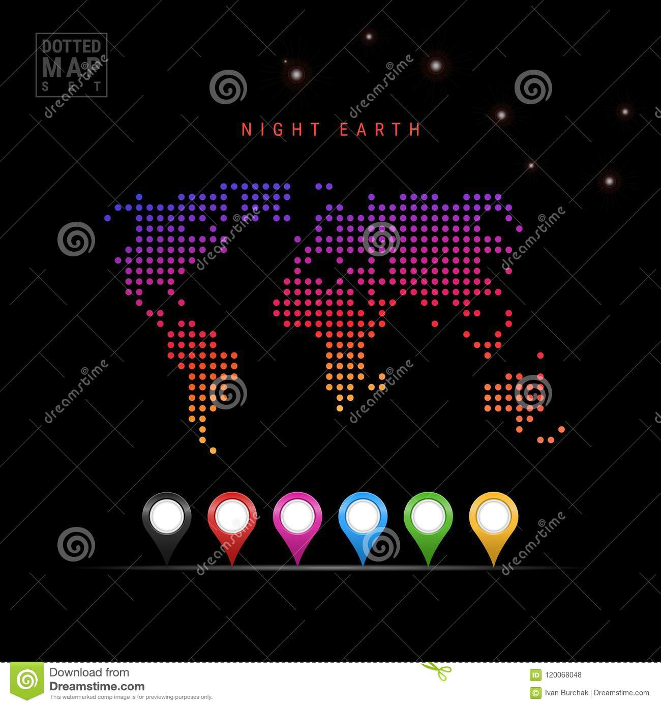 Dots Pattern Vector Map of Night Earth. Stylized Silhouette of the World. Ursa Major Constellation. Colored Map Markers