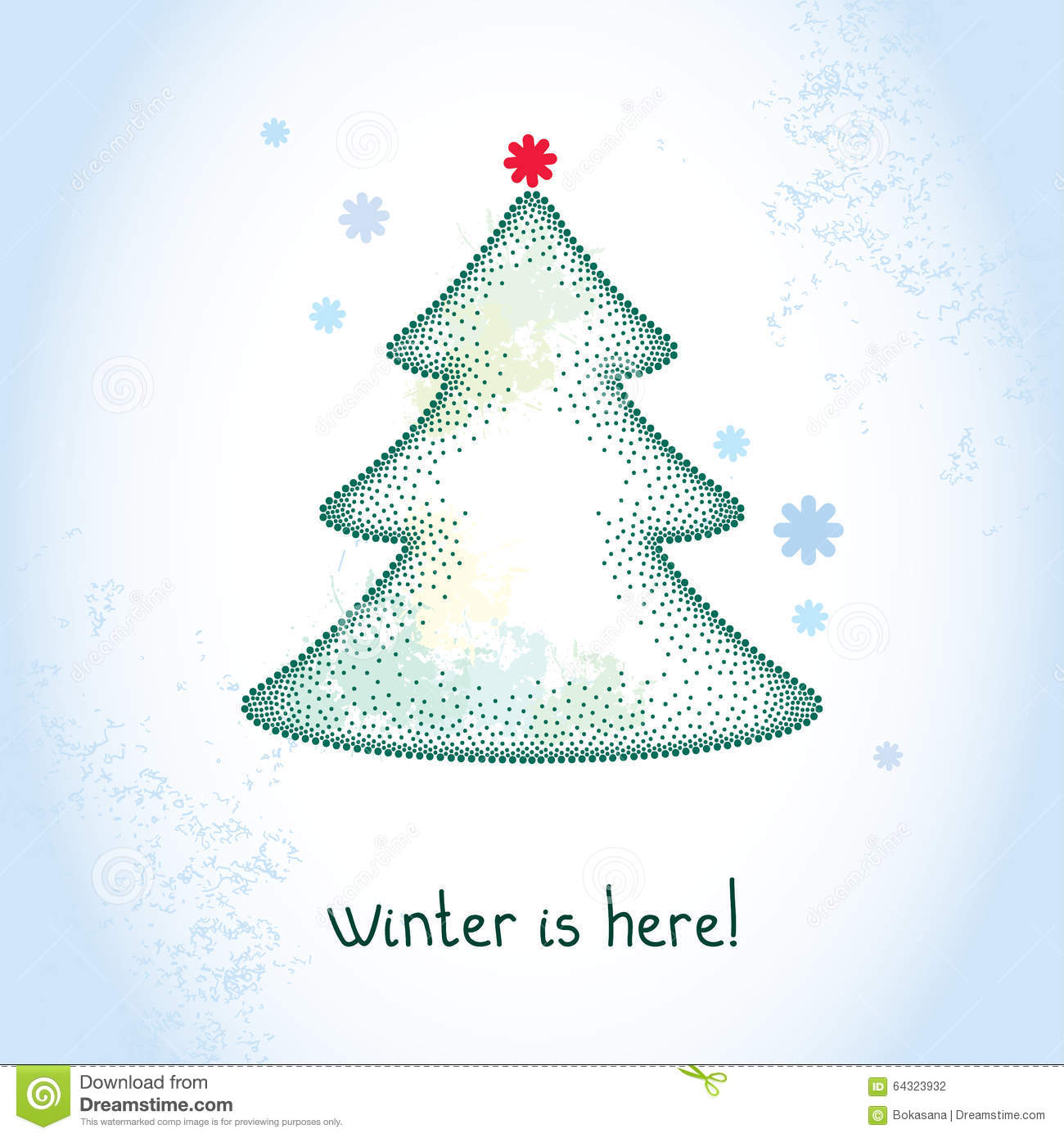Download Dotted Christmas Tree With Snowflakes On The Textured Blue Background Blots In Pastel Color