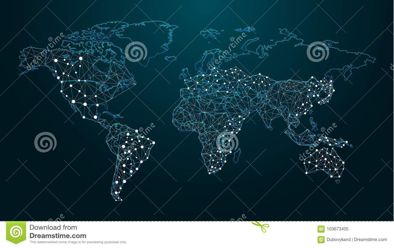 Digital Map Of The World.Dotted Digital Map Of The World On Blue Background Stock Vector